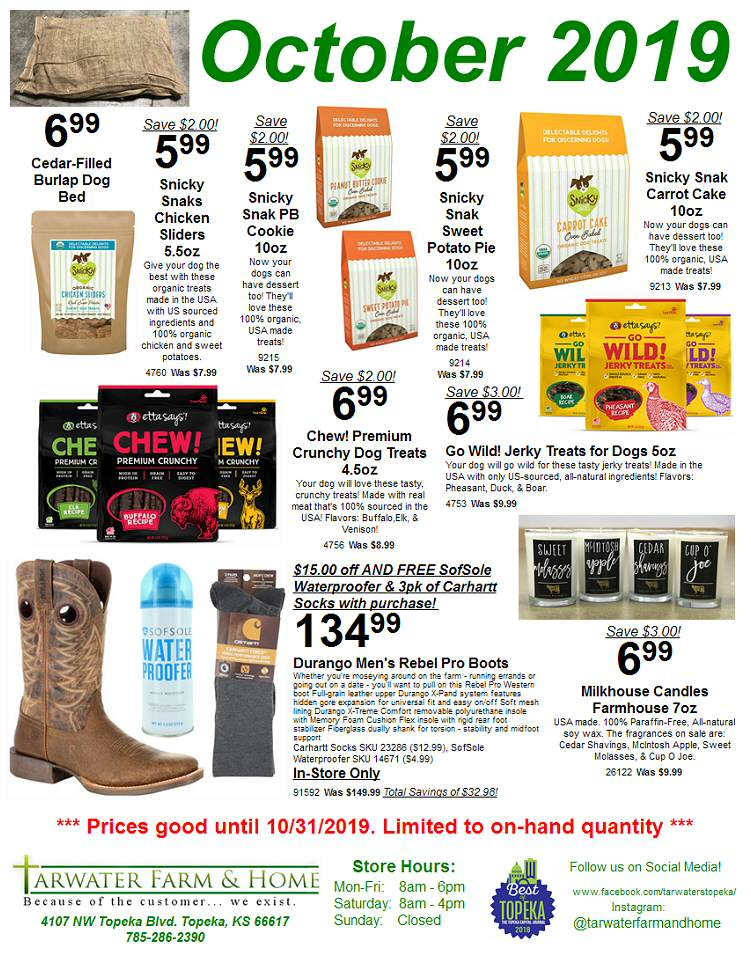 October 2019 Tarwater Farm & Home Sales