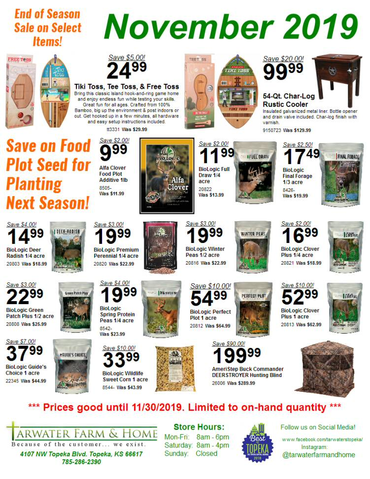 November 2019 Tarwater Farm & Home Sales