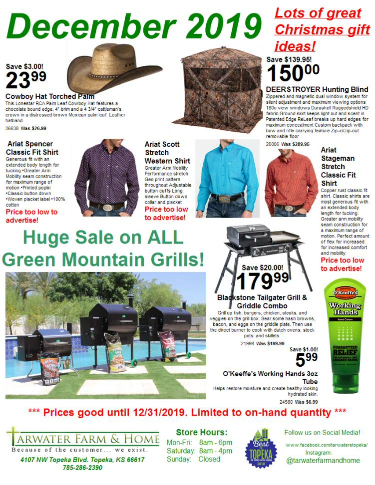 December 2019 Tarwater Farm & Home Sales